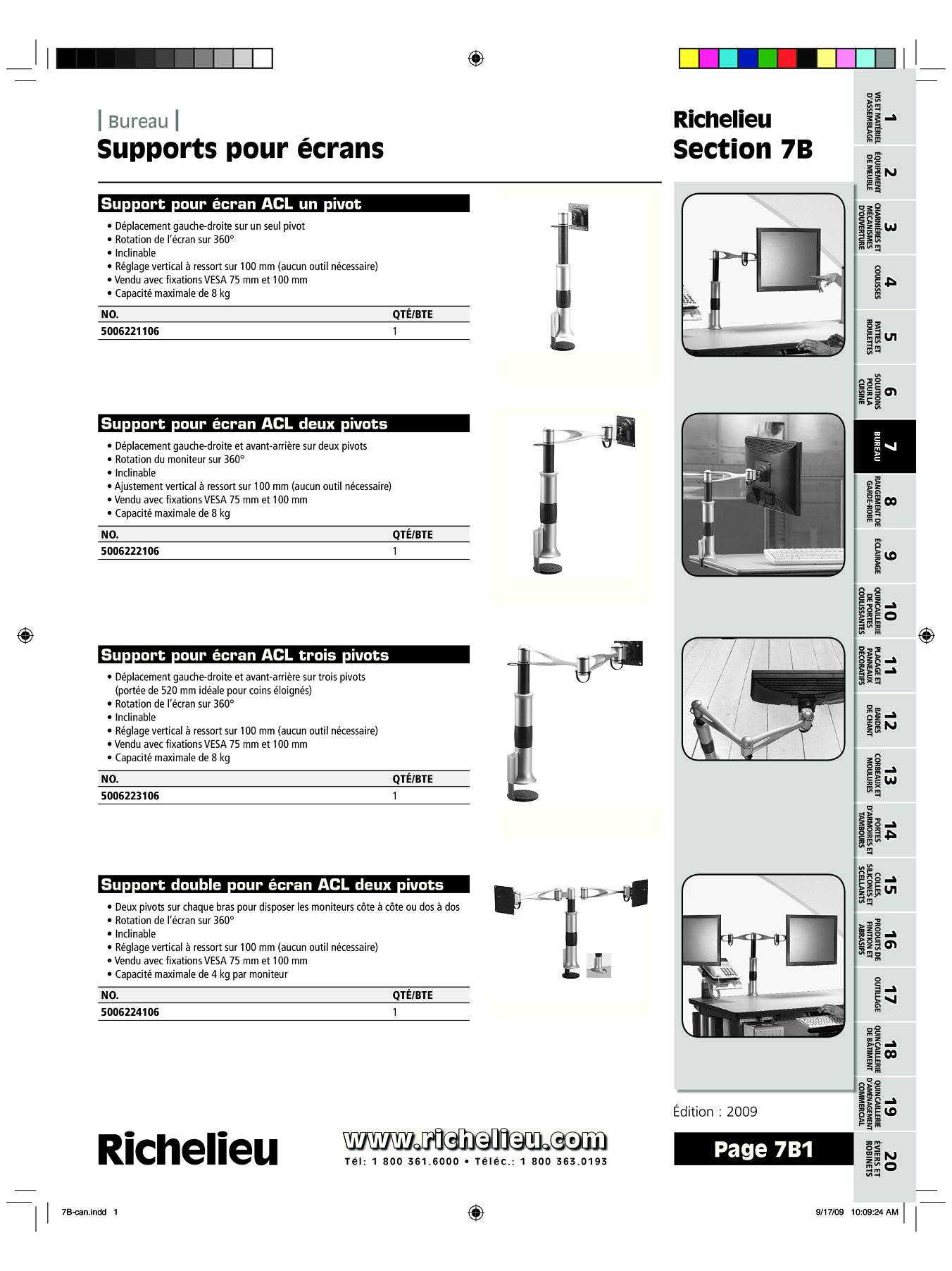 librairie des catalogues richelieu supports pour crans page 1 quincaillerie richelieu. Black Bedroom Furniture Sets. Home Design Ideas