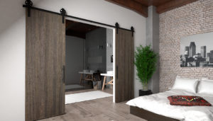 Visible Hardware for Barn-Style Sliding Wood Doors