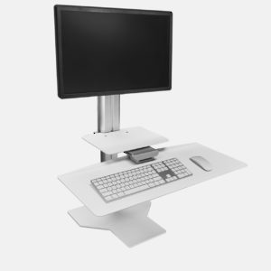 White Workstation for One Monitor