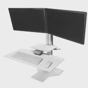 White Workstatin for  Two Monitors