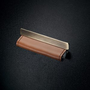 Contemporary Leather and Metal Recessed Pull - MN2468Z