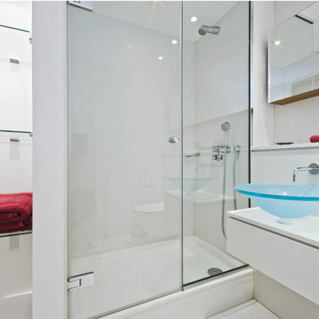 Frameless shower enclosure components